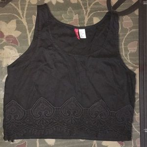H&M Black Crop Top with Lace border